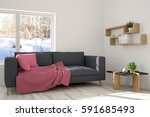 white room with sofa and winter ... | Shutterstock . vector #591685493