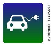 eco electric car sign. vector.... | Shutterstock .eps vector #591692087