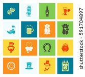 saint patricks day icon set.... | Shutterstock .eps vector #591704897