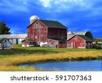 Red Barns Against Deep Blue Sky