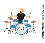 a man sitting at the drum set... | Shutterstock .eps vector #591727253
