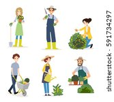 people doing garden activities  ... | Shutterstock .eps vector #591734297