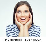 happy smiling woman with braces ... | Shutterstock . vector #591740027
