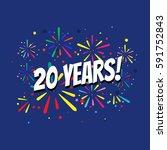 20 years birthday banner | Shutterstock .eps vector #591752843