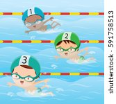 athletes swimming in the pool | Shutterstock .eps vector #591758513