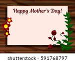 happy mother s day card. wooden ...   Shutterstock .eps vector #591768797