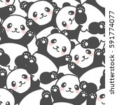 cartoon seamless panda pattern | Shutterstock .eps vector #591774077