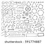 hand drawn vector arrows set on ... | Shutterstock .eps vector #591774887