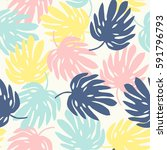 seamless pattern with monstera... | Shutterstock .eps vector #591796793