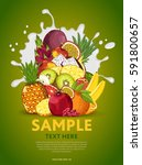 fruit mix composition in milk... | Shutterstock . vector #591800657