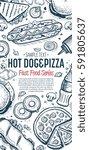 fast food vertical banner.... | Shutterstock . vector #591805637