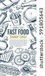 cafe bar fast food symbols... | Shutterstock . vector #591805643
