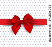 red gift bow with ribbon on... | Shutterstock . vector #591806033