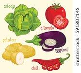 set of vegetables mix raster... | Shutterstock . vector #591807143