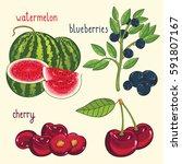 set of berries mix raster... | Shutterstock . vector #591807167