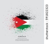 flag of jordan  brush stroke...
