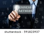 business man pointing his hand... | Shutterstock . vector #591823937