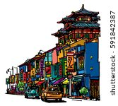 buildings and temple on street... | Shutterstock .eps vector #591842387