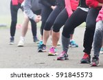 people doing keep fit exercise... | Shutterstock . vector #591845573