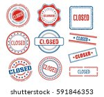 set of various closed stamps | Shutterstock .eps vector #591846353
