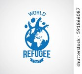 world refugee day vector... | Shutterstock .eps vector #591866087