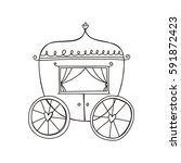 princess carriage. coloring page | Shutterstock .eps vector #591872423