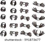 twenty cartoon spiders in... | Shutterstock .eps vector #591873677