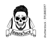 vector barbershop emblem ... | Shutterstock .eps vector #591880397