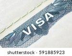 us visa in passport. american...   Shutterstock . vector #591885923
