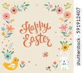 square happy easter card...   Shutterstock .eps vector #591912407