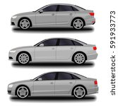 realistic car. sedan. set | Shutterstock .eps vector #591933773