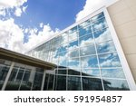 modern hospital building with... | Shutterstock . vector #591954857