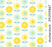 seamless pattern with flowers | Shutterstock .eps vector #591959867