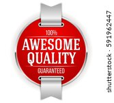 red awesome quality badge  ... | Shutterstock .eps vector #591962447