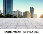 empty floor with modern skyline ... | Shutterstock . vector #591965303
