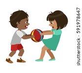 boy taking away a ball from a... | Shutterstock .eps vector #591978647