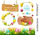 easter collection of labels ... | Shutterstock .eps vector #591984617