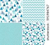 set of seamless geometric... | Shutterstock .eps vector #591984767