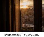 drops of rain on window after a ... | Shutterstock . vector #591993587