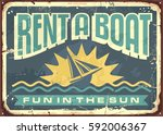 retro tin sign design for boat... | Shutterstock .eps vector #592006367