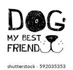 dog typography illustration... | Shutterstock .eps vector #592035353