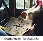 new beginning solution goals... | Shutterstock . vector #592038323