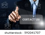 business man pointing hand on... | Shutterstock . vector #592041707