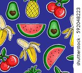 pattern of fruits embroidery... | Shutterstock .eps vector #592048223