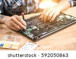 computer repair concept close... | Shutterstock . vector #592050863