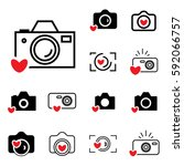 digital camera and heart icons... | Shutterstock .eps vector #592066757