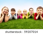 image of happy boys and girls... | Shutterstock . vector #59207014