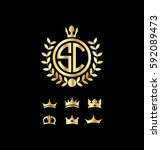 letter sc circle shape logo... | Shutterstock .eps vector #592089473