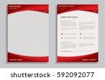 red brochure design template  ... | Shutterstock .eps vector #592092077