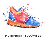 watercolor blue and orange... | Shutterstock . vector #592094513